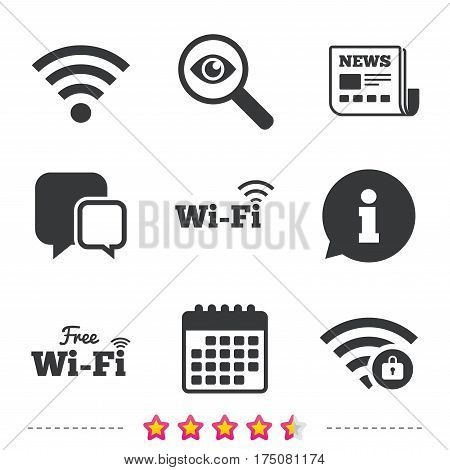 Free Wifi Wireless Network icons. Wi-fi zone locked symbols. Password protected Wi-fi sign. Newspaper, information and calendar icons. Investigate magnifier, chat symbol. Vector