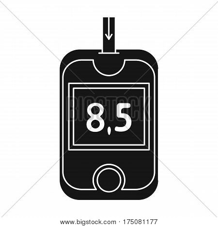 A device for measuring the level of blood sugar.Equipping the patient with diabetes.Diabetes single icon in black style vector symbol stock web illustration.