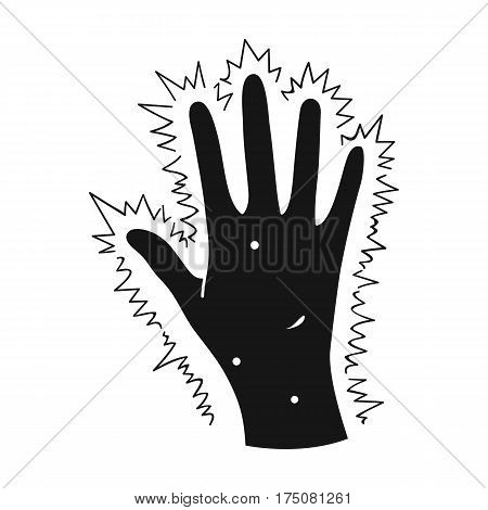 The arm of the patient with diabetes.Hand with eczema from diabetes.Diabetes single icon in black style vector symbol stock web illustration.