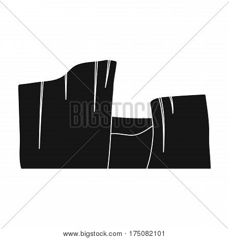 Rectangular high mountains of Sandstone.Desert mountains.Different mountains single icon in black style vector symbol stock web illustration.