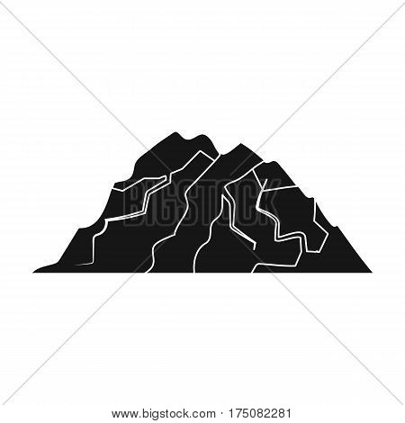 Ice mountain all the cracks.The mountain from which icebergs.Different mountains single icon in black style vector symbol stock web illustration.