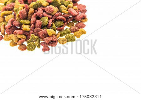 Animal food on white background closeup .