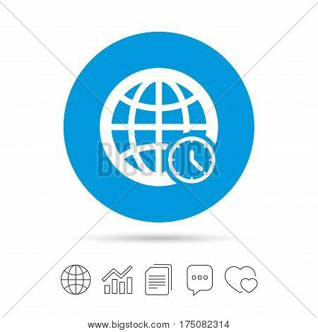 World time sign icon. Universal time globe symbol. Copy files, chat speech bubble and chart web icons. Vector
