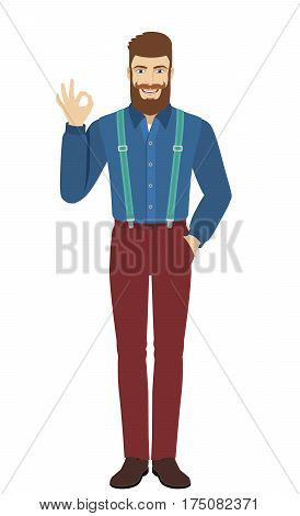 OK! Hipster show a okay hand sign. Full length portrait of hipster in a flat style. Vector illustration.