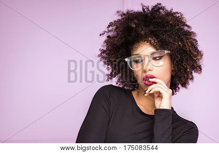 Girl With Afro And Eyeglasses.