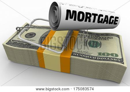 Mortgage as a financial risk. Mousetrap from pack of American dollars with bait in form of sheet with text