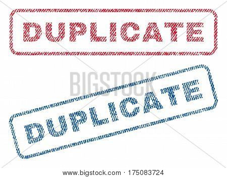 Duplicate text textile seal stamp watermarks. Blue, red fabric vectorized texture. Vector caption inside rounded rectangular banner. Rubber emblem with fiber textile structure.