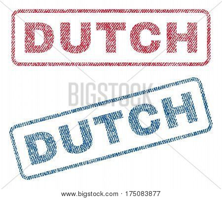 Dutch text textile seal stamp watermarks. Blue, red fabric vectorized texture. Vector tag inside rounded rectangular shape. Rubber emblem with fiber textile structure.