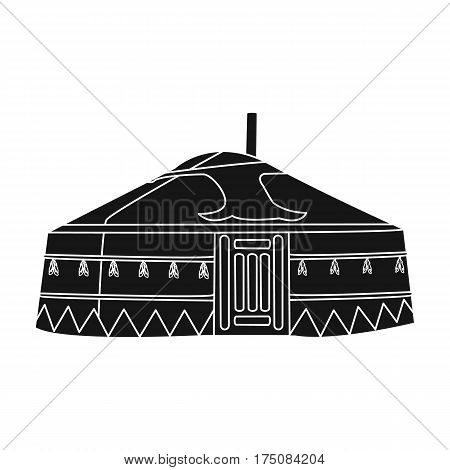 Tent in the Mongolian patterns.Mongolian tent.Housing the ancient Mongols.Mongolia single icon in black style vector symbol stock web illustration.