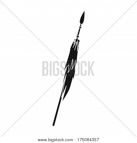 Wooden spear with metal tip.Mongol Tatar national weapon.Mongolia single icon in black style vector symbol stock web illustration.