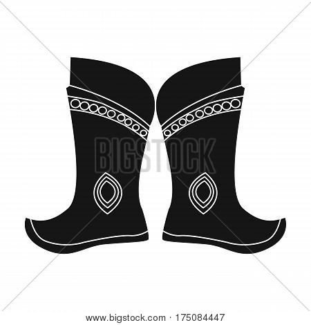 Military boots of the Mongols.part of the national dress of Mongolia.Mongolia single icon in black style vector symbol stock web illustration.