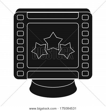 Award in the form of a video tape for best actor.Movie awards single icon in black style vector symbol stock web illustration.