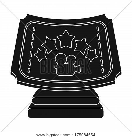 Silver prize with star, and camera on a stand.Movie awards single icon in black style vector symbol stock web illustration.