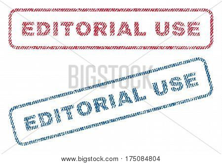 Editorial Use text textile seal stamp watermarks. Blue, red fabric vectorized texture. Vector tag inside rounded rectangular banner. Rubber sign with fiber textile structure.