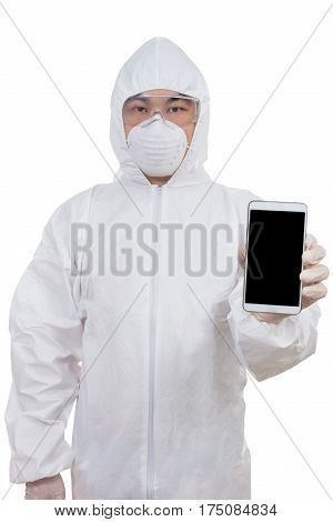 Asian Chinese Scientist In Protective Wear Showing Mobile Phone Screen