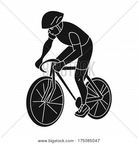 An athlete with a helmet riding his bike on the field.Cycling.active sports single icon in black style vector symbol stock web illustration.