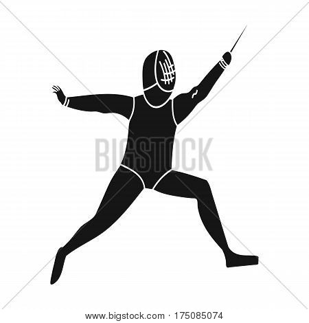 The athlete outfit with a sword.Fencing competitions .active sports single icon in black style vector symbol stock web illustration.