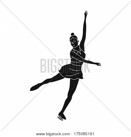 Girl in purple dress dancing on skates on ice.Athlete figure skaters.active sports single icon in black style vector symbol stock web illustration.