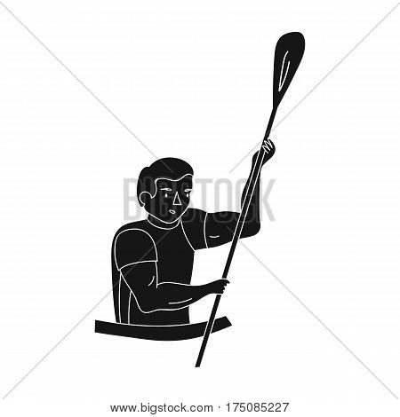 Rower in a boat with a paddle in hand down to the baydak on the wild river.active sports single icon in black style vector symbol stock web illustration.