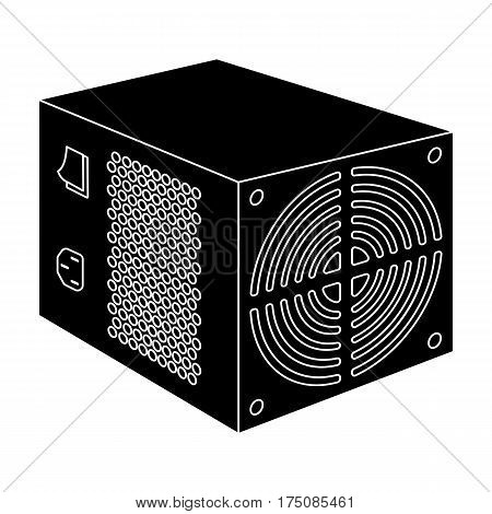 Power supply unit icon in black design isolated on white background. Personal computer accessories symbol stock vector illustration.