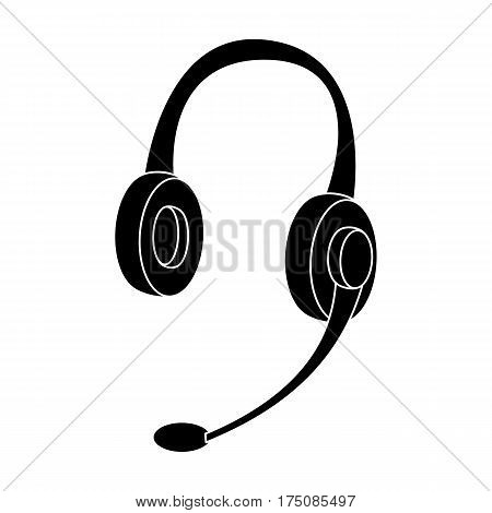 Headphones icon in black design isolated on white background. Personal computer accessories symbol stock vector illustration.