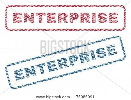Enterprise text textile seal stamp watermarks. Blue, red fabric vectorized texture. Vector tag inside rounded rectangular banner. Rubber sticker with fiber textile structure.