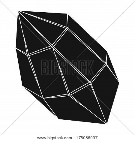Rough gemstone icon in black design isolated on white background. Precious minerals and jeweler symbol stock vector illustration.