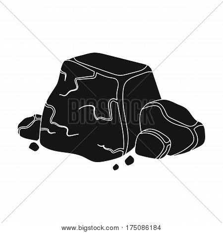 Metal ore icon in black design isolated on white background. Precious minerals and jeweler symbol stock vector illustration.