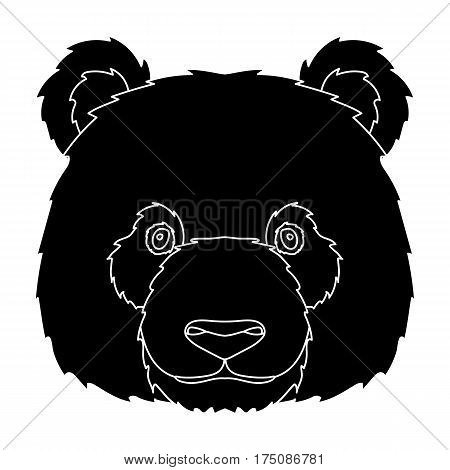 Panda icon in black design isolated on white background. Realistic animals symbol stock vector illustration.