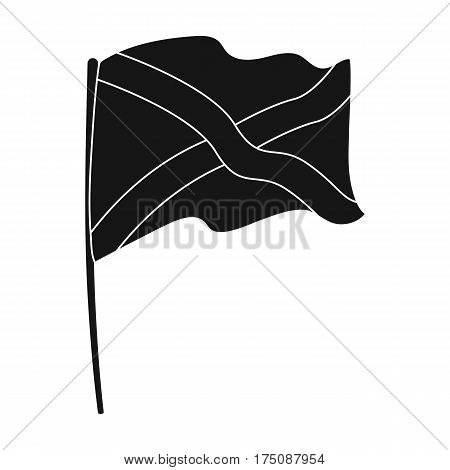 Flag of Scotland icon in black design isolated on white background. Scotland country symbol stock vector illustration.
