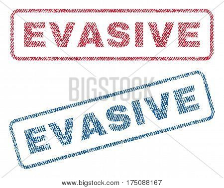 Evasive text textile seal stamp watermarks. Blue, red fabric vectorized texture. Vector tag inside rounded rectangular banner. Rubber sign with fiber textile structure.