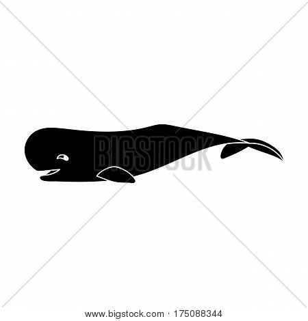 Sperm whale icon in black design isolated on white background. Sea animals symbol stock vector illustration.