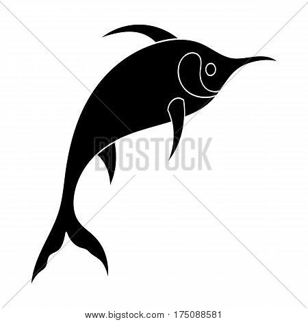 Marlin fish icon in black design isolated on white background. Sea animals symbol stock vector illustration.