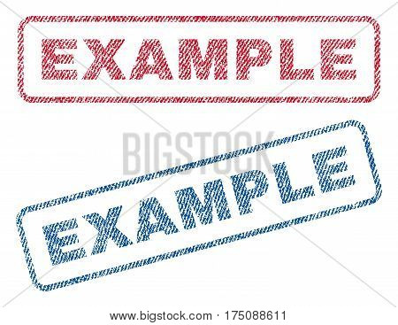 Example text textile seal stamp watermarks. Blue, red fabric vectorized texture. Vector caption inside rounded rectangular banner. Rubber sign with fiber textile structure.
