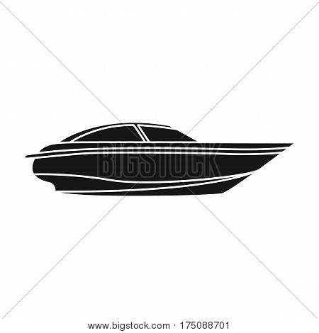 A small white boat with a motor.Boat for speed and competition.Ship and water transport single icon in black style vector symbol stock web illustration.