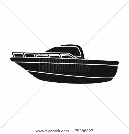 Blue metal boat.Police boat.A means of transportation on water.Ship and water transport single icon in black style vector symbol stock web illustration.