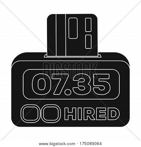 Yellow taxi counter with bank card.A device for measuring and calculating the cost of travel in a taxi. Taxi station single icon in black style vector symbol stock web illustration.