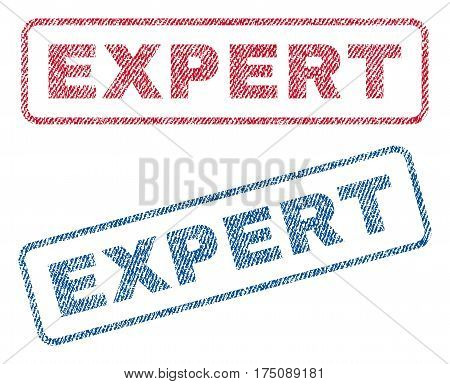Expert text textile seal stamp watermarks. Blue, red fabric vectorized texture. Vector tag inside rounded rectangular banner. Rubber emblem with fiber textile structure.