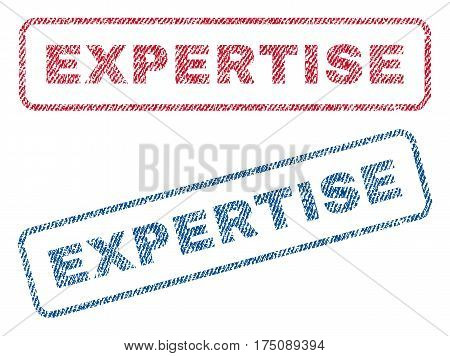 Expertise text textile seal stamp watermarks. Blue, red fabric vectorized texture. Vector caption inside rounded rectangular shape. Rubber emblem with fiber textile structure.