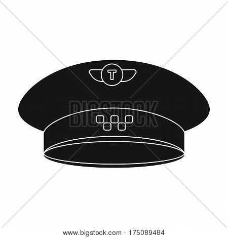 Black cap with the logo of a taxi. Uniforms taxi driver. Taxi station single icon in black style vector symbol stock web illustration.