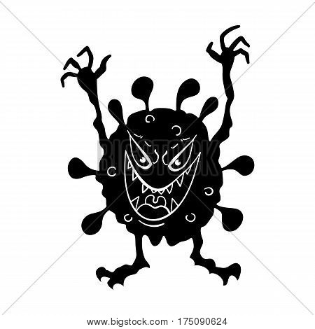 Green virus icon in black design isolated on white background. Viruses and bacteries symbol stock vector illustration.