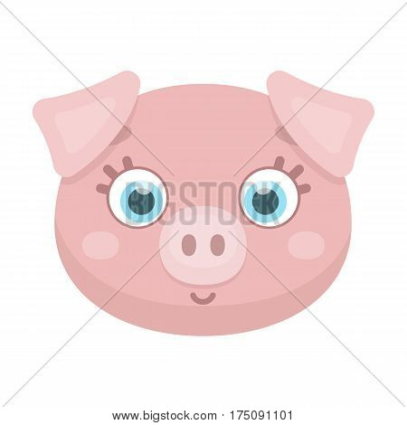 Pig muzzle icon in cartoon design isolated on white background. Animal muzzle symbol stock vector illustration.