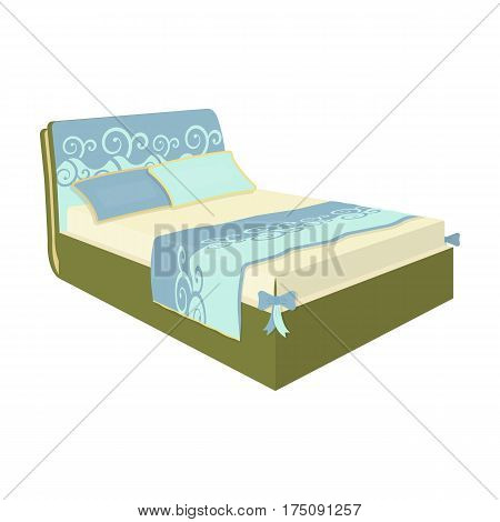 White women's bed with a bow on the corners.Bed single icon in cartoon style vector symbol stock web illustration.