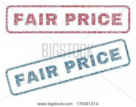 Fair Price text textile seal stamp watermarks. Blue, red fabric vectorized texture. Vector tag inside rounded rectangular shape. Rubber sign with fiber textile structure.