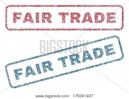 Fair Trade text textile seal stamp watermarks. Blue, red fabric vectorized texture. Vector caption inside rounded rectangular banner. Rubber emblem with fiber textile structure.