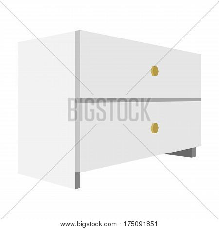 White bedside table with two drawers.Room accessories for all sorts of things.Bedroom furniture single icon in cartoon style vector symbol stock web illustration.