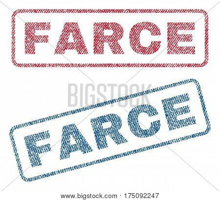 Farce text textile seal stamp watermarks. Blue, red fabric vectorized texture. Vector caption inside rounded rectangular shape. Rubber emblem with fiber textile structure.