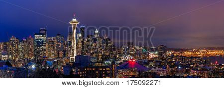 Seattle Skyline Panorama At Sunset From Kerry Park In Seattle