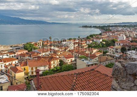 Amazing Panoramic view of Nafpaktos town, Western Greece