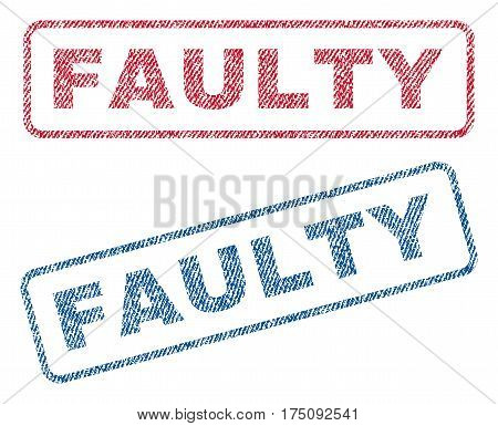 Faulty text textile seal stamp watermarks. Blue, red fabric vectorized texture. Vector caption inside rounded rectangular banner. Rubber emblem with fiber textile structure.
